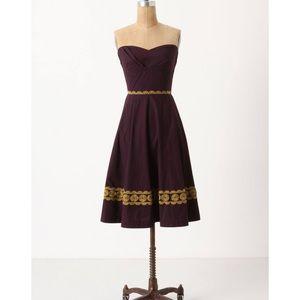 Anthro Girls from Savoy Aubergine Strapless Dress